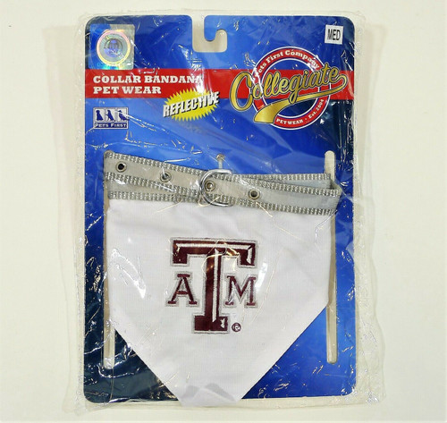Pets First Texas A&M Pet Dog Collar Bandana Reflective - NEW SEALED