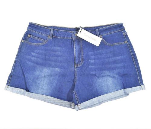 ChouYatou Women's Blue Basic Stretched Mid-Rise Turn-Up Denim Shorts Size 3X NEW