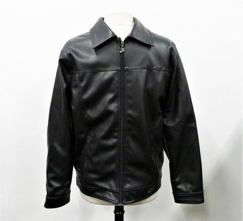 A Collezioni Men's Black Faux Leather Full Zip Jacket Coat Size M