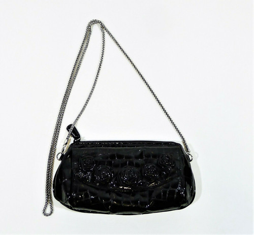 Brighton Black Patent Leather Clutch Convertible Crossbody Bag with Roses