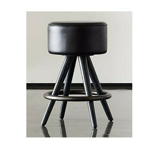 "CB2 + GQ Joi 24"" Counter Stool in Black Leather   LOCAL PICKUP ONLY, AUSTIN TX"