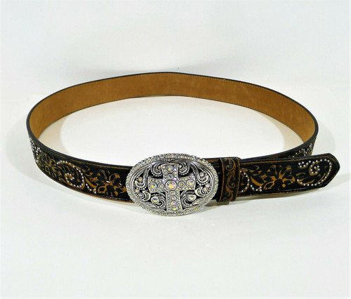 Justin Women's Black/Tan Belt with Silver Accents and Cross Belt Buckle Size 38