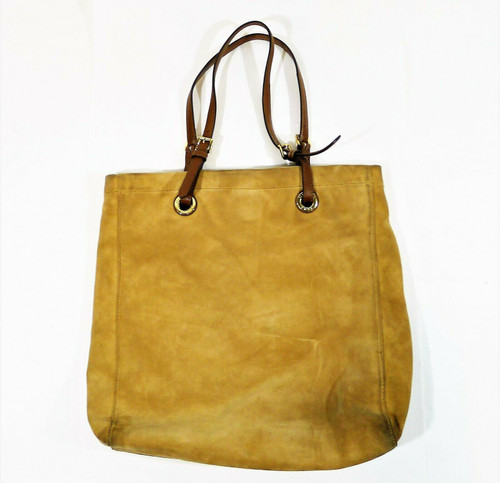 Michael Michael Kors Tan Suede Leather Tote Purse **DIRT AND WEAR / SEE DESCR.