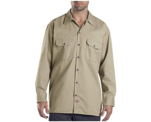 Dickies Men's Khaki Long Sleeve Work Shirt Size 2X-Large - NEW WITH TAGS