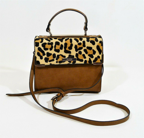 Dune London Brown Leopard Print Cow Hair Satchel Crossbody