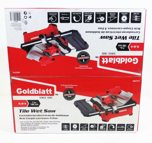 "Goldblatt 7"" Tile Wet Saw G02773     5.0 Amp  5300 RPM  120V  NEW"