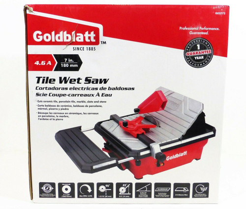 "Goldblatt 7"" Tile Wet Saw G02772    4.6 Amp  3590 RPM  120V  NEW"