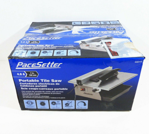"PaceSetter 7"" Portable Tile Saw G02771    4.8 Amp  3550 RPM  120V  NEW"