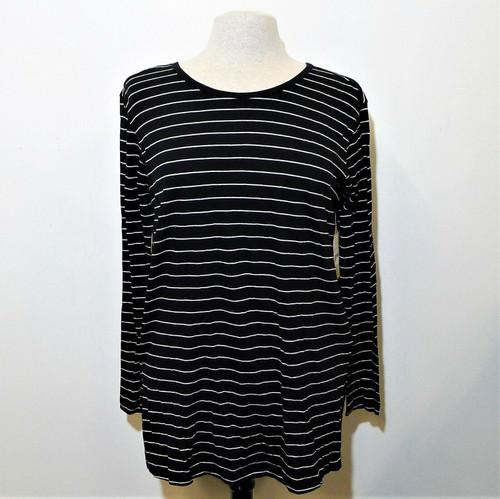 BP Women's Black Joan Stripe Long Sleeve Pull Over Shirt Size S - NEW