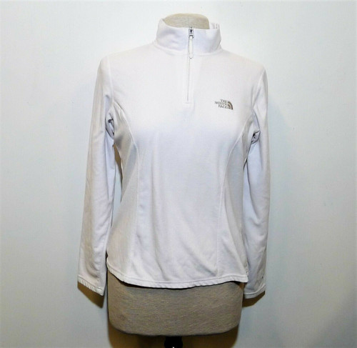 The North Face Women's White Fleece 1/4 Zip Pull Over Shirt Size M