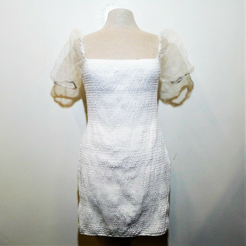 Parisian Women's White Ruche Dress Size 10 - NEW WITH TAGS *DIRT/STAIN