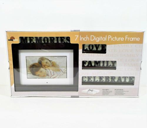 "Digital Decor Brown 7"" Digital Picture Frame w/ Interchangeable Sentiments - NEW"