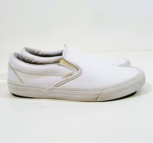 Vans Men's White Leather Classic Slip On Shoes Size 12 - 721454 *SEE DESCRIPTION