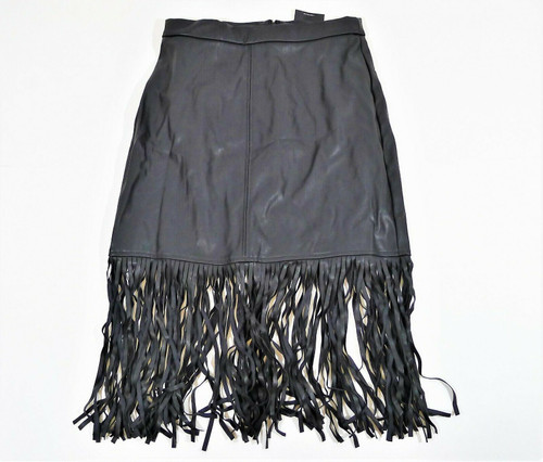 Forever 21 Women's Black Polyurethane Fringed Skirt Size M - NEW WITH TAGS
