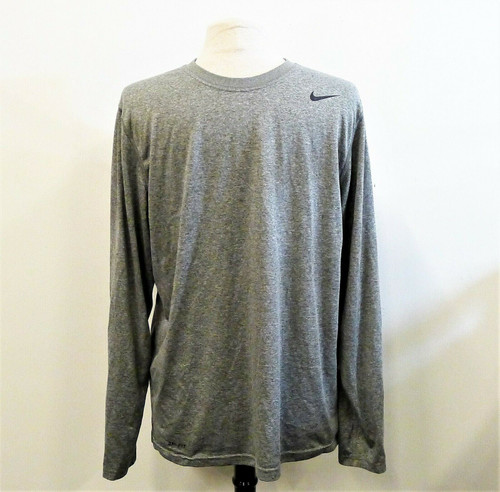 Nike Men's Gray Long Sleeve Dri-Fit Pull Over Shirt Size Large