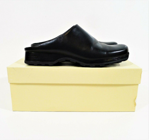 Enzo Angiolini Women's Black Roulette Leather Mules Shoes Size 7.5 M *SCUFFS