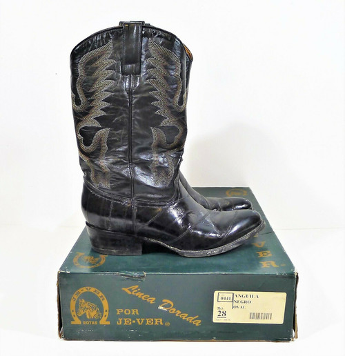 Je-ver Men's Black Anguila Lizard Boots Mexico Size 28 US Size 9