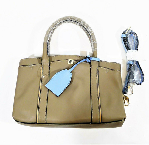 Antonio Melani Gray/Light Blue Leather Handbag Purse with Shoulder Strap