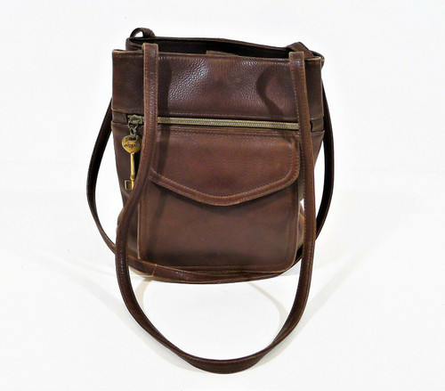 Fossil Brown Leather Crossbody Purse **WEAR ON EDGES