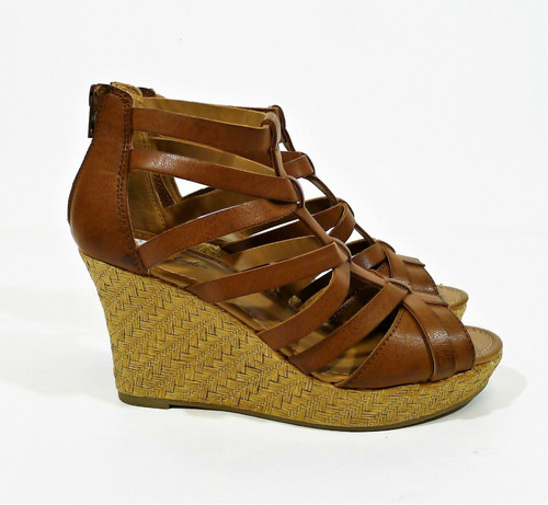 American Eagle Women's Brown Faux Leather Strappy Wedge Open Toe Heels Size 7