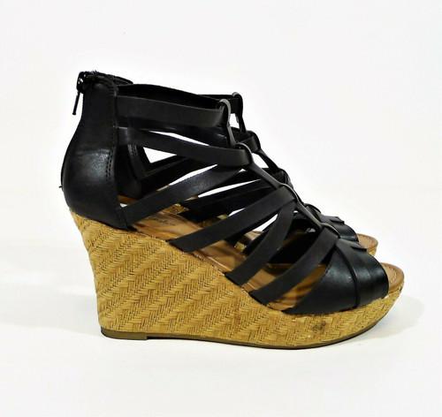 American Eagle Women's Black Faux Leather Strappy Wedge Open Toe Heels Size 7