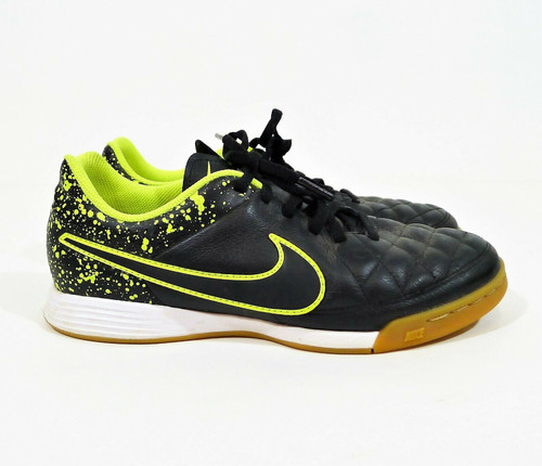 Nike Boy's Youth Black Tiempo Genio Leather IC Shoes Size 5Y - 631528-007