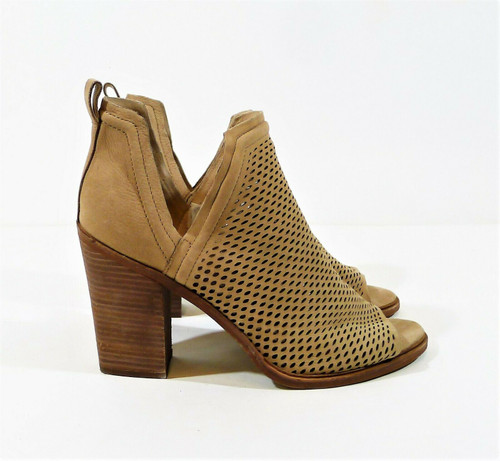 Vince Camuto Women's Tan Leather Kensa Open Toe Perforated Booties Heels Size 11