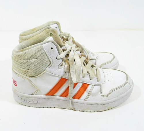 Adidas Girl's White/Coral Hoops Mid 2.0 Sneaker Shoes SIze 4 - EE6708