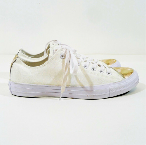 Converse White Chuck Taylor All Star Brush Off Leather Cap Toe Shoes Size 11