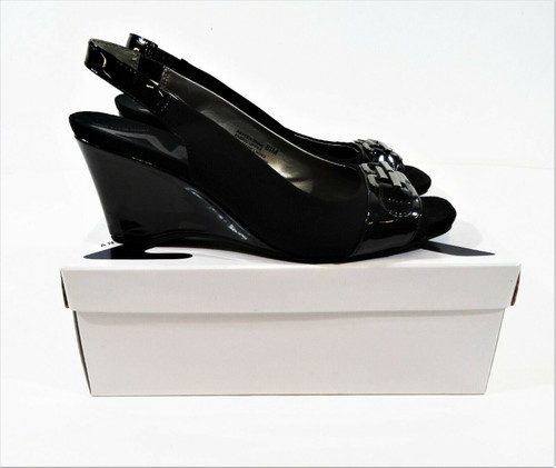 Anne Klein Sport Women's Black Peregrine Fabric Wedge Pumps Size 8.5 IOB