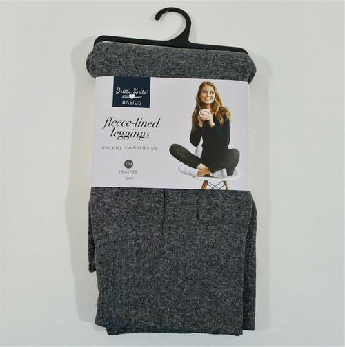 Britt's Knits Basics Women's Gray Heather Fleece-Lined Leggings Size S/M - NEW