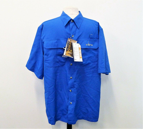 Habit Men's Marlin Blue Button Down Short Sleeve River Guide Shirt Size L - NEW