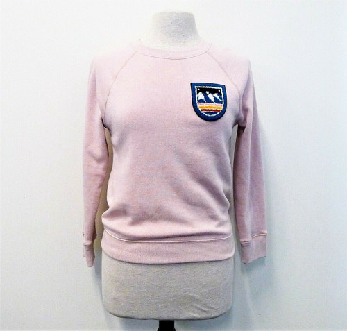 J. Crew Women's Pink Embroidered Ski Patch Sweatshirt Size XXS - NEW WITH TAGS