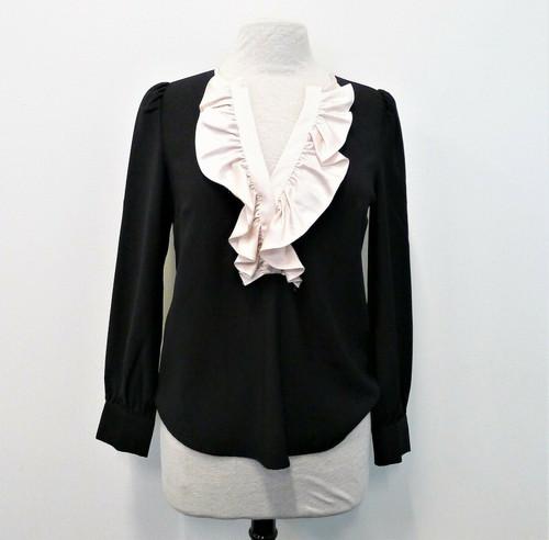 J. Crew Women's Black Pink Ruffle Long Sleeve Blouse Shirt Size XS - NEW W/ TAGS