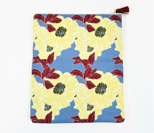 Rachel Pally Blue/Yellow Flower Print Reversible Clutch Purse with Dust Bag