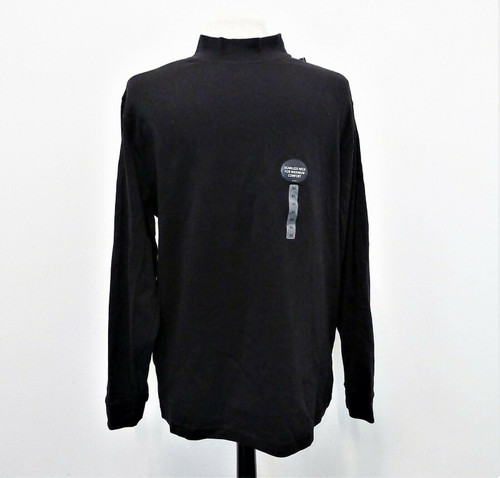 Roundtree & Yorke Men's Black Long Sleeve Pull Over Shirt Size M - NEW WITH TAGS