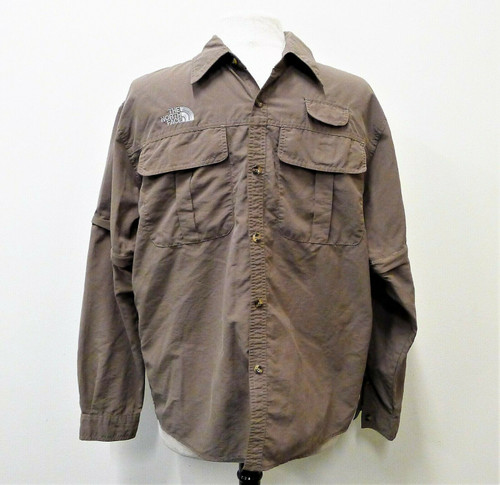 The North Face Men's Brown Button Long Sleeve Fishing Shirt Size XL *TREAD PULLS
