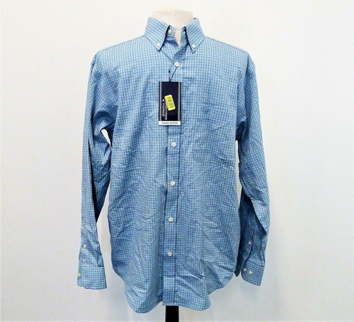 Roundtree & Yorke Men's Blue/Gray Button Long Sleeve Shirt Size M - NEW W/ TAGS
