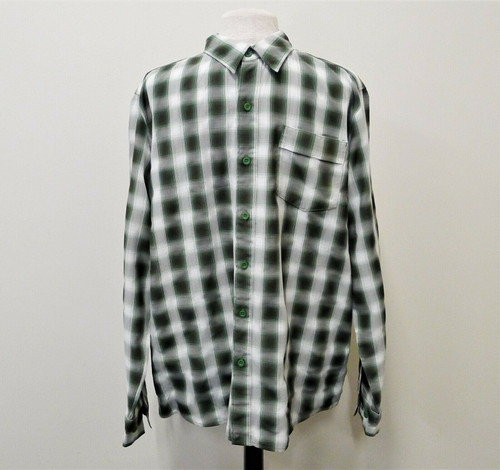 The North Face Men's Green Black Plaid Button Long Sleeve Shirt Size L