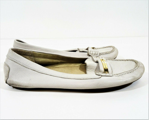 Michael Kors Women's Pale Gray Leather Classic Penny Loafer Flats Size 9 - ME16H
