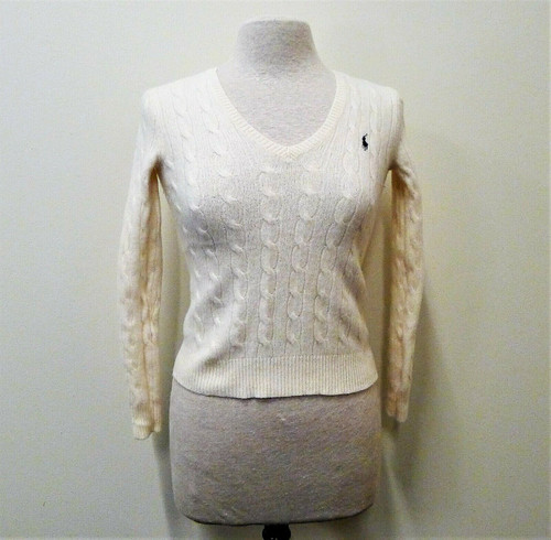 Polo Ralph Lauren Women's Eggshell Long Sleeve Cable-Knit Sweater Size XS