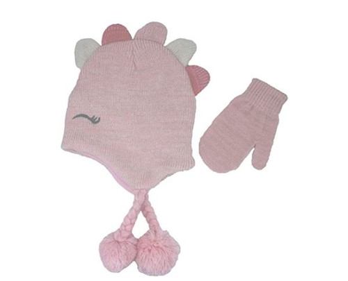 Nicole Miller Girl's Pink Dino Hat and Mitten Set Size 2T-4T - NEW WITH TAGS