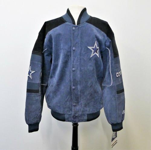 NFL Authentic Apparel Black/Blue Dallas Cowboys Pig Split Suede Leather Jacket