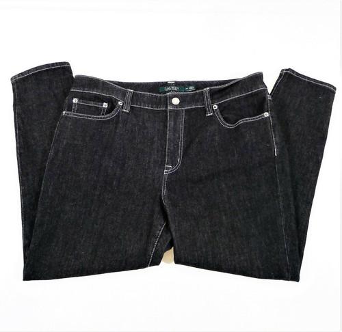 Lauren Ralph Lauren Women's Black Denim Tapered Leg Jeans Size 14P