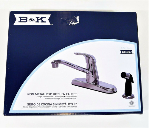 "B&K Chrome 8"" Single Lever Handle Kitchen Faucet With Spray Non-Metallic - NEW"