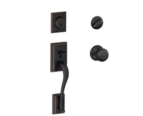 Schlage Addison Aged Bronze Single Cylinder Deadbolt Georgian Knob Door Handle