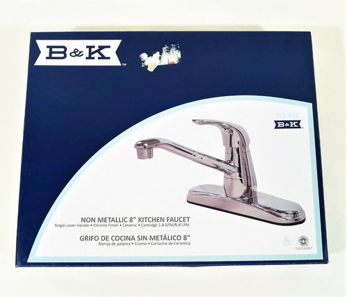 "B&K Chrome 8"" Single Lever Handle Kitchen Faucet Non Metallic"