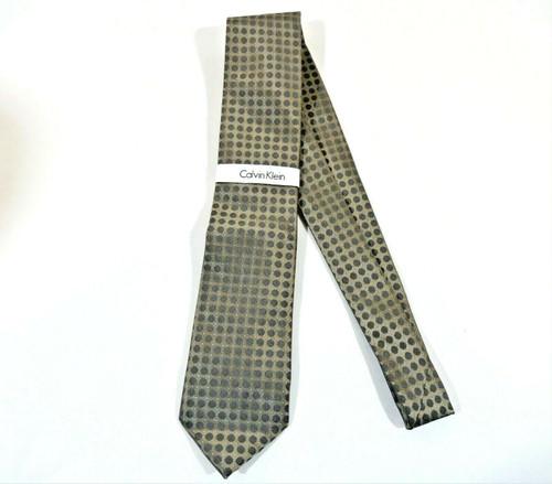 Calvin Klein Men's 100% Silk Sleek Power Dot Tie in Gray Taupe  - NWT