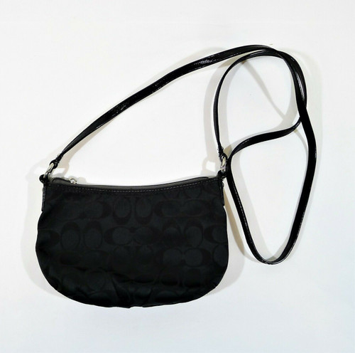 Coach Black Signature Canvas Crossbody Purse - NO ZIPPER PULL / SEE DESCR.