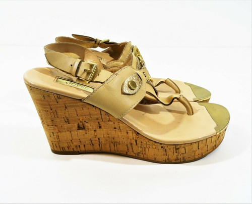 Guess Women's Nude Signature Wedge Heel Sandals Size 7